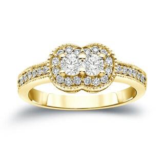 Auriya 14k Gold 3/4ct TDW 2-Stone Round Cut Diamond Halo Engagement Ring (J-K, I1-I2)