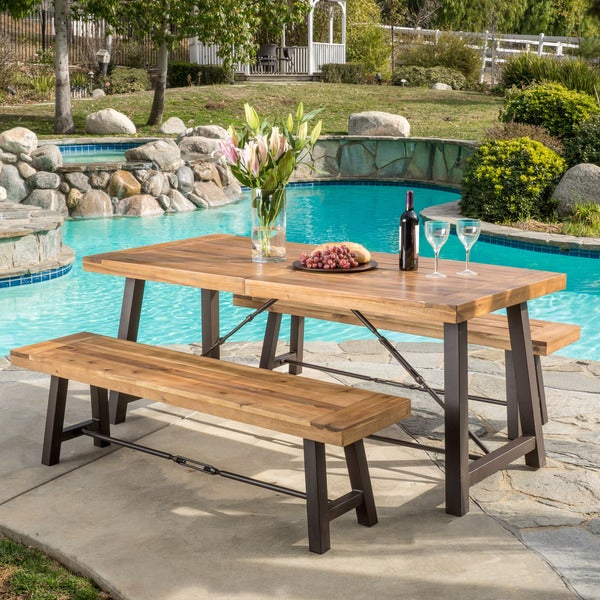 Puerto Acacia Wood 3-piece Picnic Dining Set by Christopher Knight Home. Opens flyout.