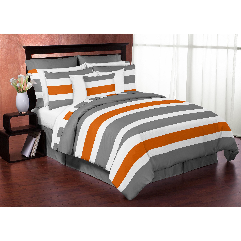 Sweet Jojo Designs Grey And Orange Stripe 3 Piece Full Queen Size Comforter Set Overstock 12917226