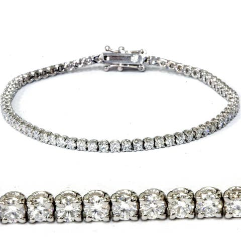 "3 ct Diamond Tennis Bracelet 14k White Gold 7"" Lab Grown"