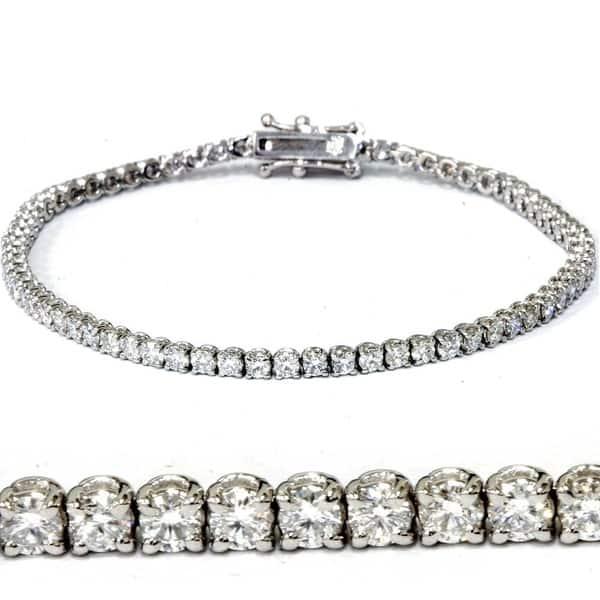 10K White Gold Finish Silver Ladies Bracelet WLab Created Diamonds Size 7 Inch