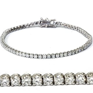 18k White Gold 3 ct TDW Lab Grown Eco Friendly Round Diamond Tennis Bracelet (E-F,VVS2-VS1)