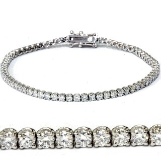 18k White Gold 3 ct TDW Lab Grown Eco Friendly Round Diamond Tennis Bracelet