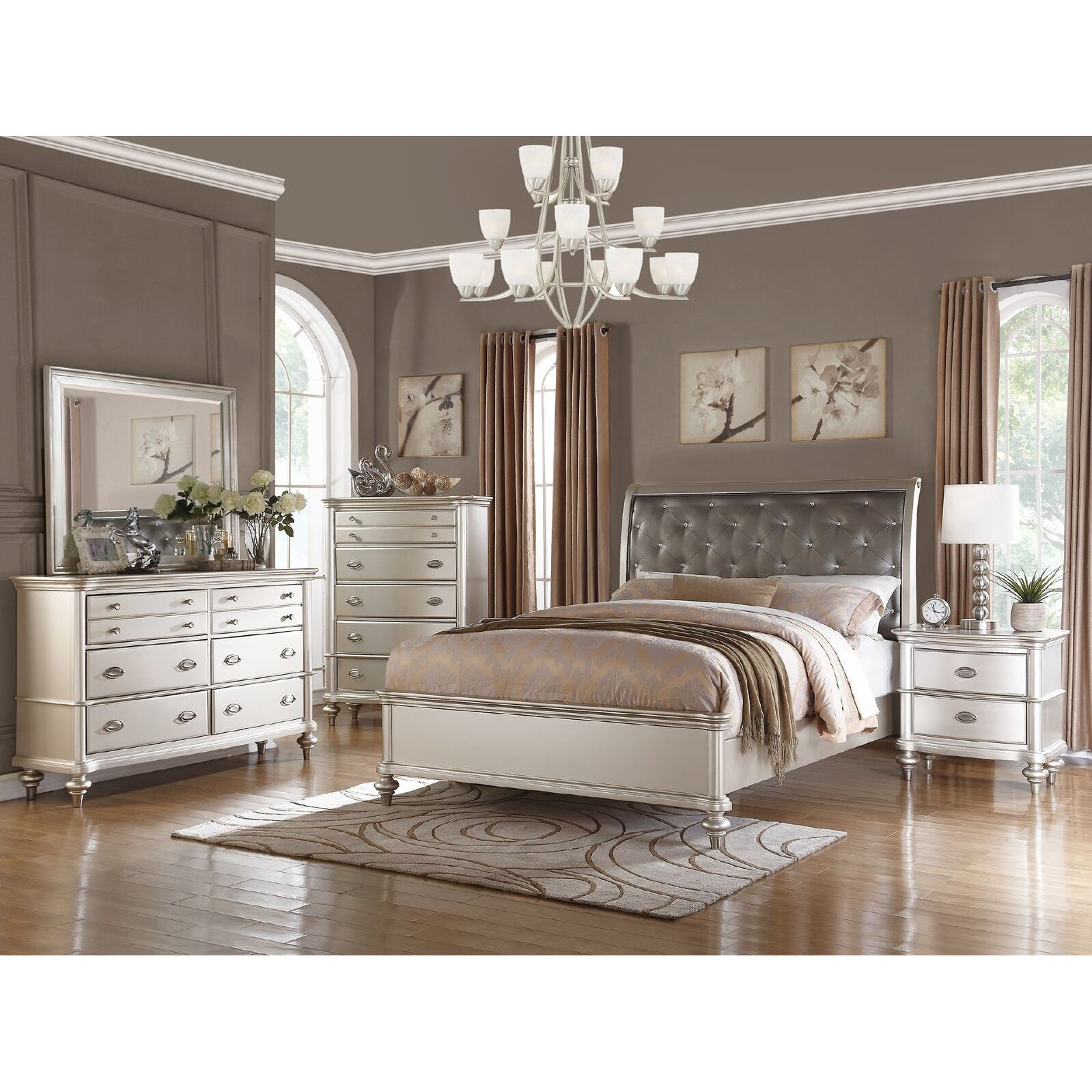 Shop saveria 6 piece silver bedroom furniture set free shipping on orders over 45 overstock com 12917234