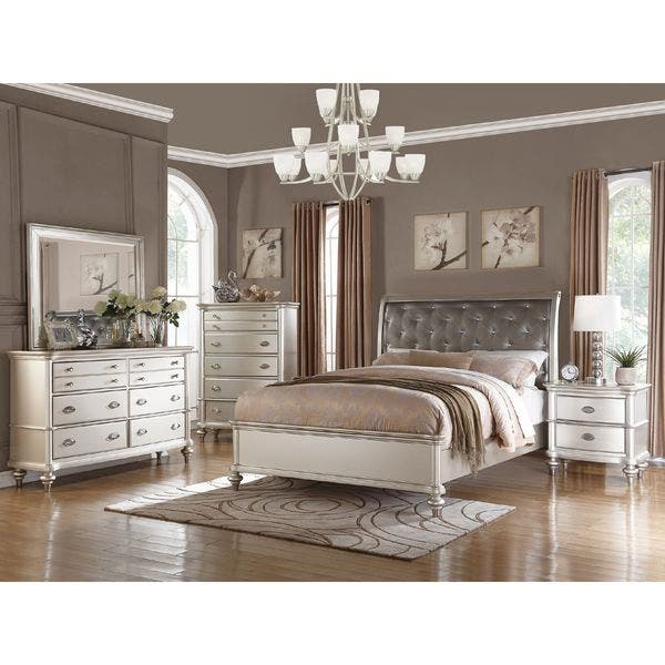 Shop Silver Orchid Boland 6-piece Silver Bedroom Furniture ...