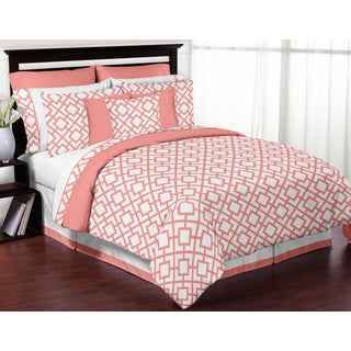 Sweet Jojo Designs White and Coral Mod Diamond 3-piece Full/ Queen-size Comforter Set