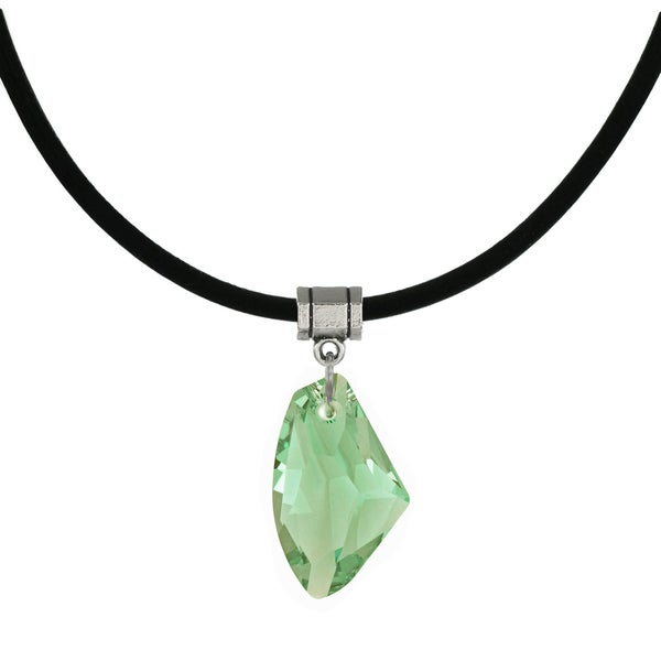 Jewelry by Dawn Peridot Green Crystal Galactic Greek Leather Cord Necklace