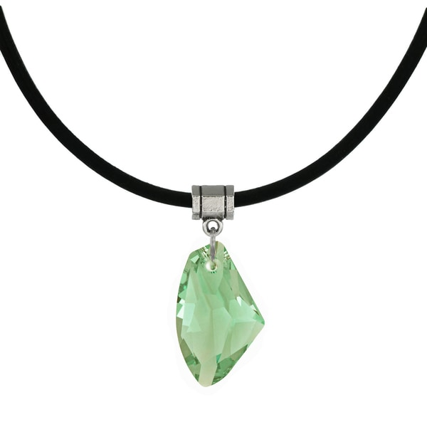 Handmade Jewelry by Dawn Peridot Green Crystal Galactic Greek Leather Cord Necklace