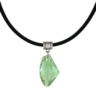 Handmade Jewelry by Dawn Peridot Green Crystal Galactic Leather Cord Necklace (USA)