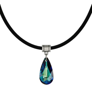 Jewelry by Dawn Bermuda Blue Crystal Teardrop Greek Leather Cord Necklace
