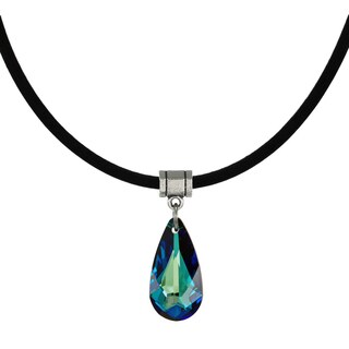 Handmade Jewelry by Dawn Bermuda Blue Crystal Teardrop Leather Cord Necklace (USA)