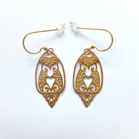 Handmade Brass Owl Love Dangle Earrings by Spirit (Indonesia)