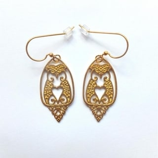 Brass Owls Dangle Earrings by Spirit tribal fusion