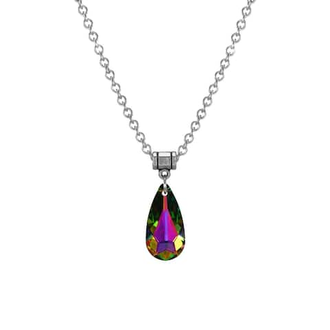 Handmade Jewelry by Dawn Medium Vitrail Crystal Teardrop Stainless Steel Chain Necklace (USA) - Multi