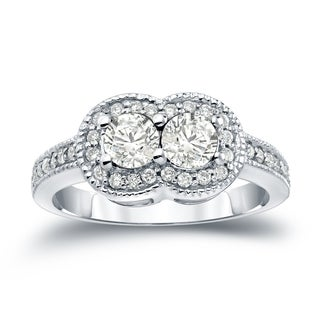 Auriya 14k Gold 1ct TDW 2-Stone Round Cut Diamond Halo Engagement Ring (J-K, I1-I2)