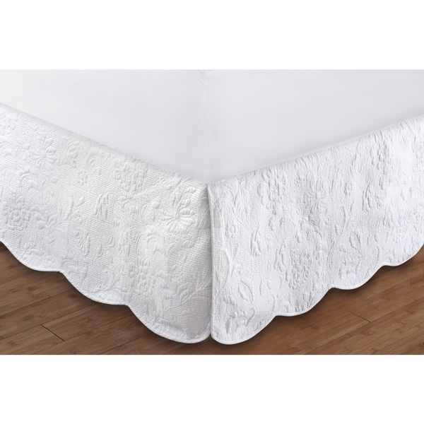 Greenland Home Fashions  Gwyneth Cotton Quilted 18-Inch Drop Bed Skirt