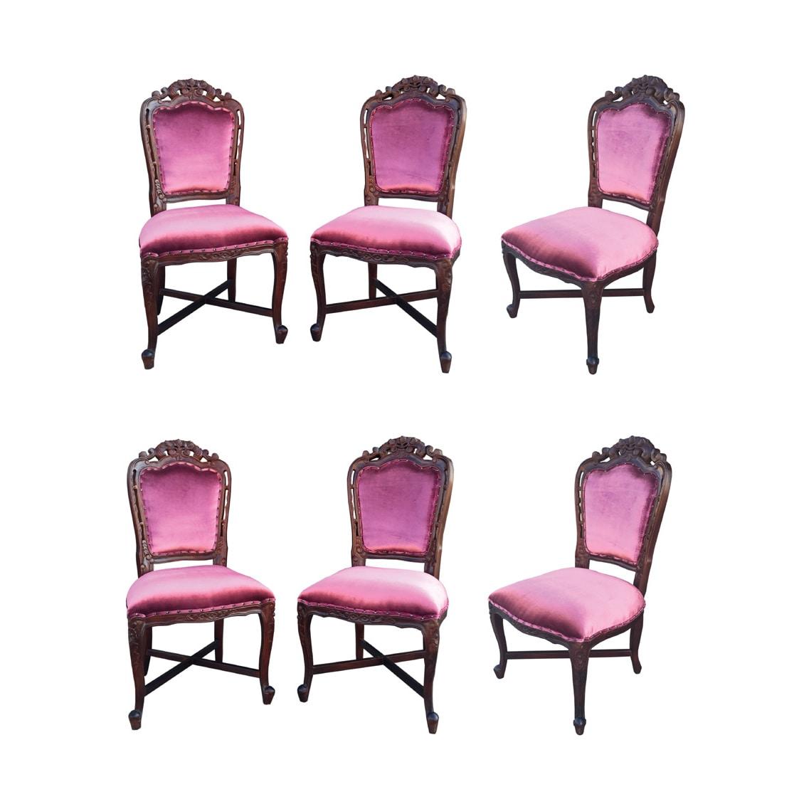 D-Art French Victorian Purple Velvet/Brown Mahogany Wood ...