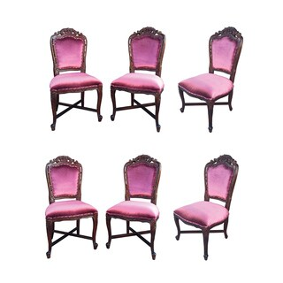 D-Art French Victorian Purple Velvet/Brown Mahogany Wood Dining Chairs (Set of 6)