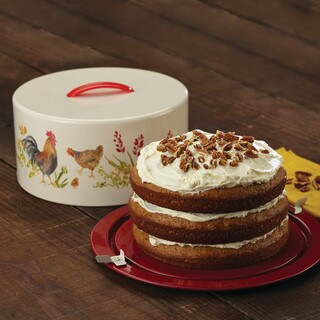 Paula Deen Pantryware Rooster-themed Metal Cake and Pie Carrier - Multicolor