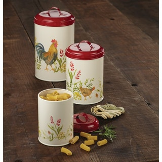 Paula Deen Pantryware Food Storage Canister Set, 3-Piece, Garden Rooster