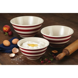 Paula Deen Pantryware Melamine Mixing Bowl Set, 3-Piece, Striped Red
