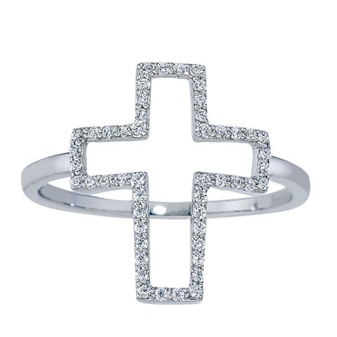 Sterling Silver 1/5ct TDW Diamond Cross Ring by Ever One
