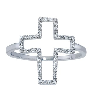 Sterling Silver 1/5ct TDW Diamond Cross Ring (H-I, I2-I3) by Ever One