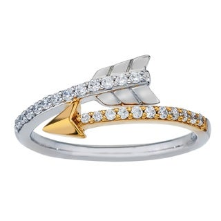 10k Yellow Gold over Silver Diamond Accent Arrow Ring (H-I, I2-I3)