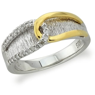 14k Yellow Gold over Silver Diamond Accent Band (H-I, I2-I3) by Ever One