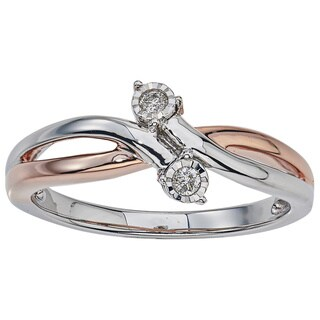 Two-tone Silver Diamond Accent 2-stone Promise Ring by Ever One
