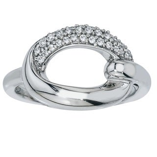 10k White Gold 1/4ct TDW Diamond Oval Ring (H-I, I2-I3) by Ever One