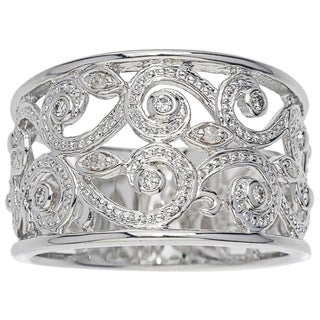Sterling Silver 1/10ct TDW Diamond Scroll Band by Ever One