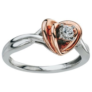 10k Rose Gold Diamond Accent Heart Ring (H-I, I1-I2) by Ever One