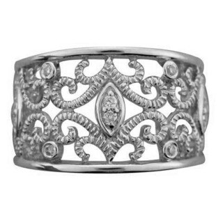 Sterling Silver 1/10ct TDW Diamond Vintage Band (H-I, I2-I3) by Ever One
