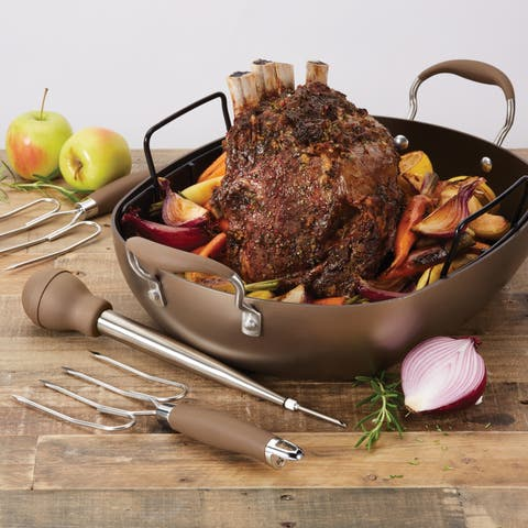 Anolon Advanced Hard-Anodized Nonstick Roaster Set, 16-Inch x 13-Inch Oval