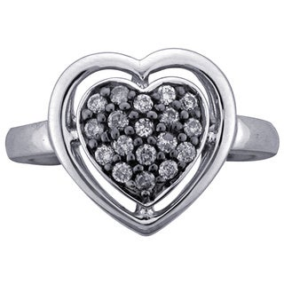 Sterling Silver 1/4ct TDW Diamond Heart Ring (H-I, I1-I2) by Ever One