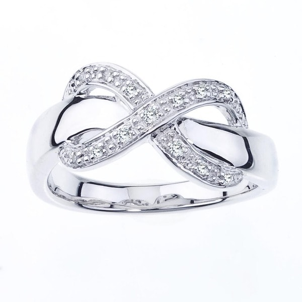 Sterling Silver Diamond Accent Infinity Ring (H-I, I1-I2) by Ever One