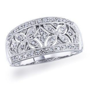 Sterling Silver 1/6ct TDW Diamond Vintage Band by Ever One