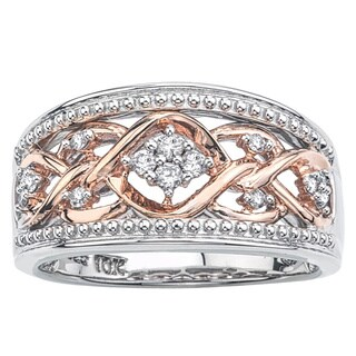 10k Rose Gold over Silver 1/6ct TDW Diamond Band by Ever One