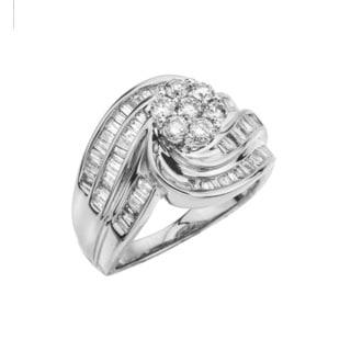 10k White Gold 1ct TDW Diamond Flower Cluster Ring (I-J, I2-I3) by Ever One