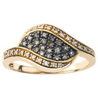 Gold over Silver 1/4ct TDW Champagne Diamond Band by Ever One