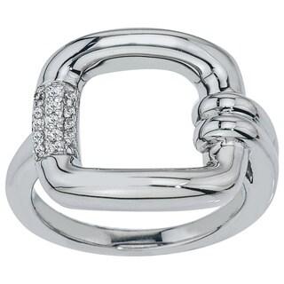 10k White Gold 1/10ct TDW Diamond Buckle Ring (H-I, I2-I3)