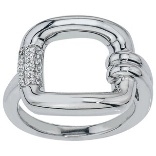 10k White Gold 1/10ct TDW Diamond Buckle Ring by Ever One