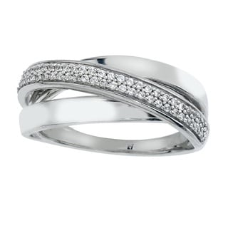 10k White Gold 1/4ct TDW Diamond Crossover Ring (I-J, I2-I3) by Ever One