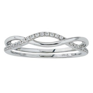 10k White Gold Diamond 1/10ct TDW Stackable Ring (H-I, I2-I3) by Ever One