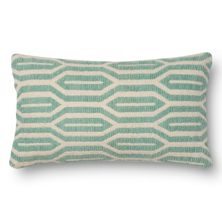 Woven Cotton Geometric Feather and Down Filled or Polyester Filled 12 x 22 Throw Pillow or Pillow Cover