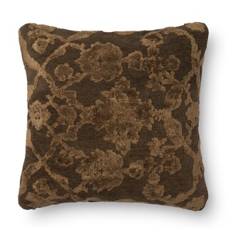 Decorative Damask Dark Taupe Feather and Down Filled or Polyester Filled 18-inch Throw Pillow or Pillow Cover