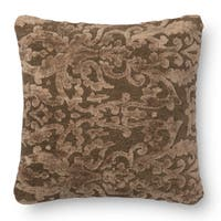 Decorative Damask Coffee Feather and Down Filled or Polyester Filled 18-inch Throw Pillow or Pillow Cover