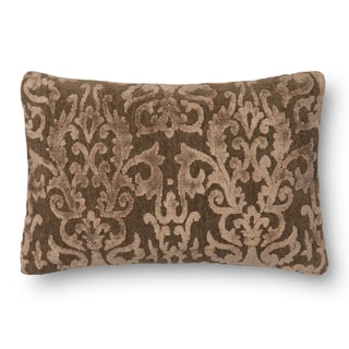 Decorative Damask Coffee Feather and Down Filled or Polyester Filled 14 x 22 Throw Pillow or Pillow Cover