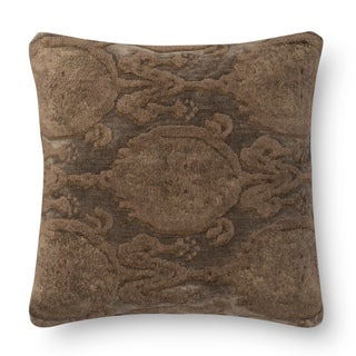 Decorative Damask Brown Feather and Down Filled or Polyester Filled 18-inch Throw Pillow or Pillow Cover